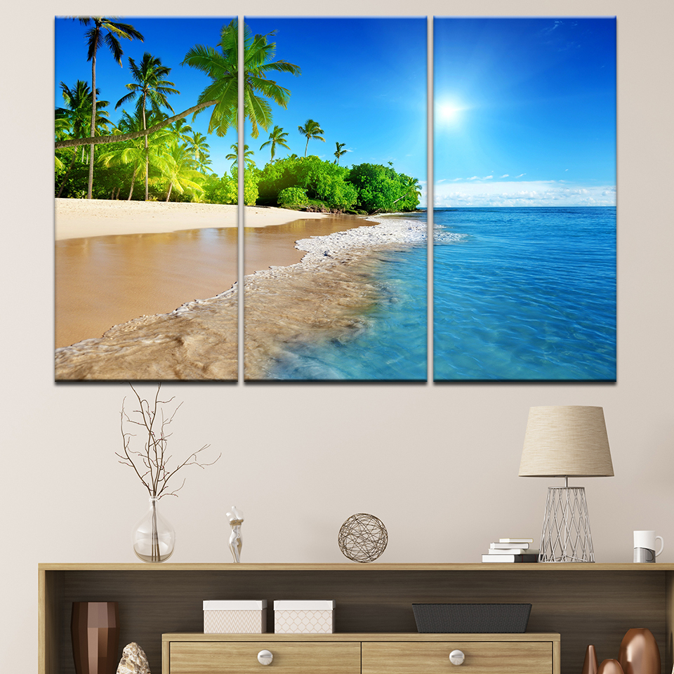 Us 5 49 44 Off 3 Panel Sea Beach Sea View View Wall Art Home Decoration Frame Modern Hd Print Pictures Canvas Painting Poster For Living Room In