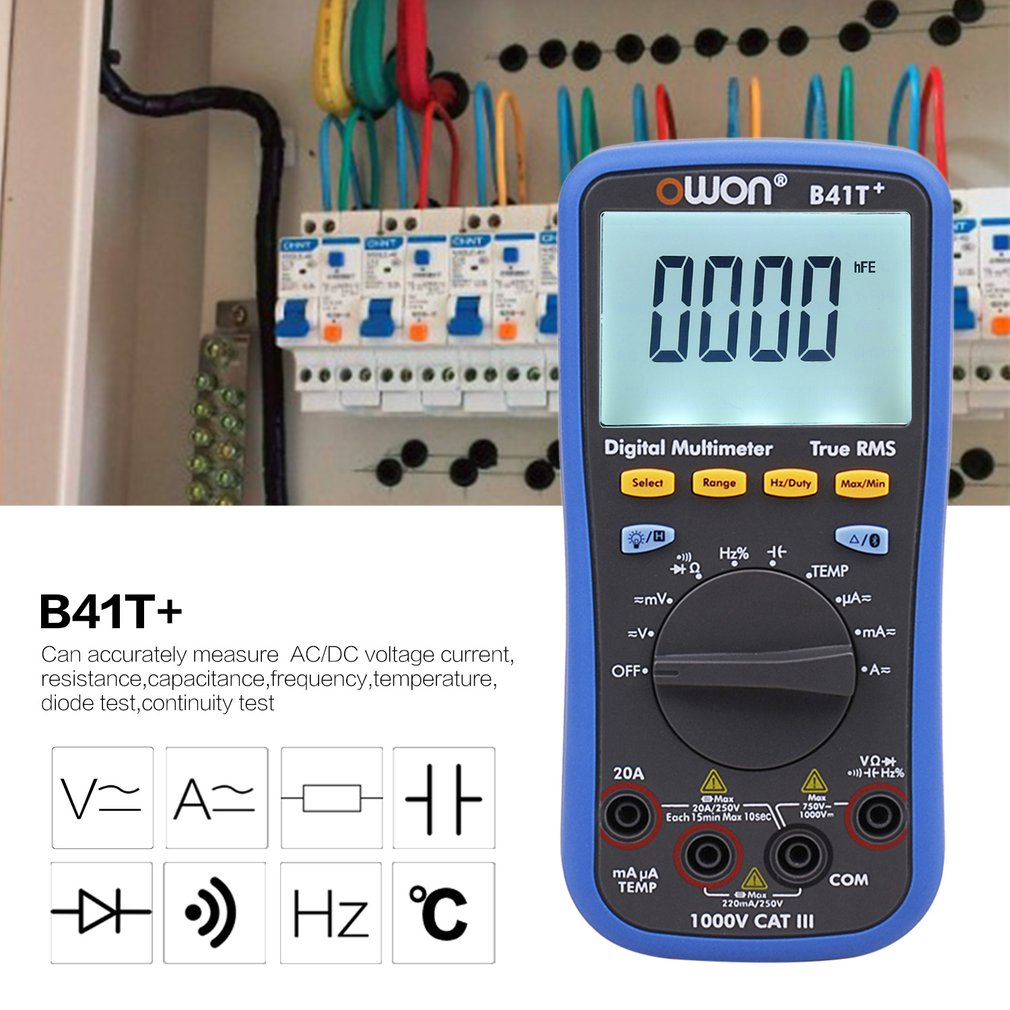 Owon B41T + Multimètre Numérique Rétro-Éclairage LCD Multimètre Bluetooth AC/DC Voltmètre Ampèremètre Vrai RMS Diode Résistance Continuité
