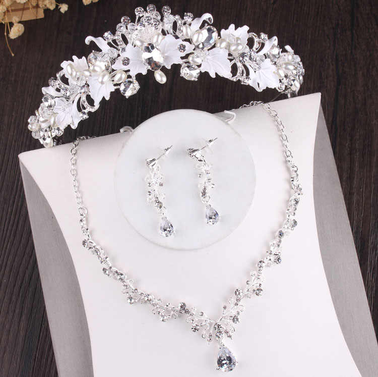 Baroque Crystal Wedding Bridal Jewelry Sets Tiara Crown Earrings Necklace Bride Women Pageant Prom Jewelry Set Hair Ornaments