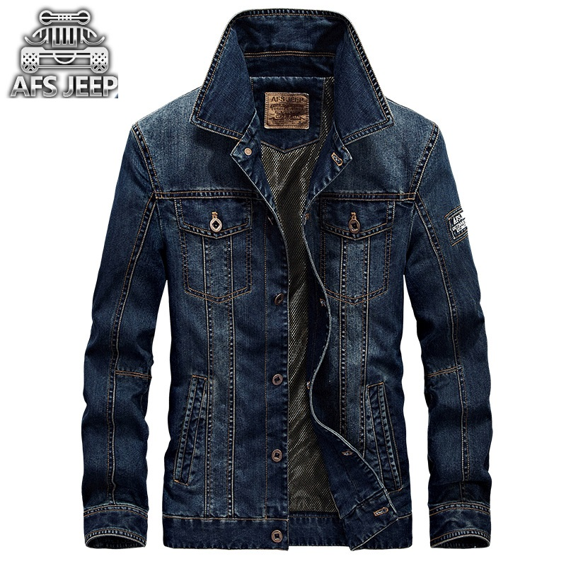 Afs Jep Fashion 2017 Men s Denim Jacket Men Military Jeans Jacket Top Quality Brand Male