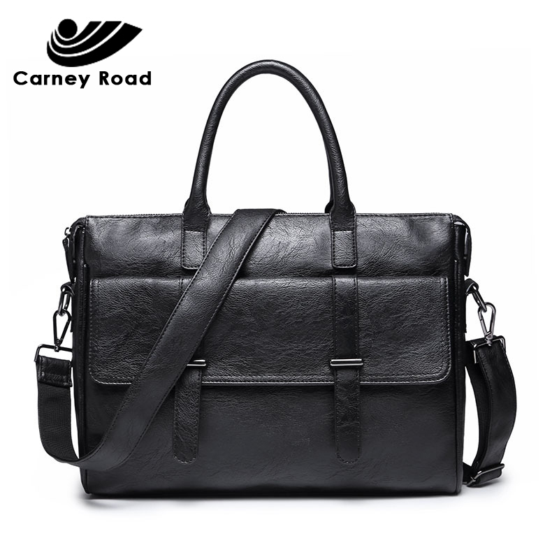 Brand Pu Leather Business Men Briefcase Bags 14 Inch Laptop HandBag Casual Shoulder Messenger Bags For Men Travel Computer Bag