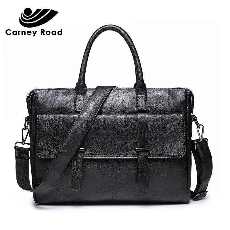 Brand Pu Leather Business Men Briefcase Bags 14 Inch Laptop HandBag Casual Shoulder Messenger Bags For Men Travel Computer Bag