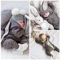 2016 Recién Nacido Bebé Niño Ropa 3D Lindo Conejito oído Mono Mameluco Playsuit Otoño Invierno Cálido Bebes Mamelucos Uno pieza