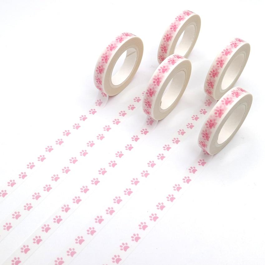 1 PCS Pink Colored Washi Tape Pastel Dog Footprint Patterns Decorative Adhesive Tape Masking Paper Tapes 10m*8mm