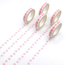 1 PCS Pink Colored Washi Tape Pastel Dog Footprint Patterns Decorative Adhesive Tape Masking Paper Tapes 10m*8mm(China)