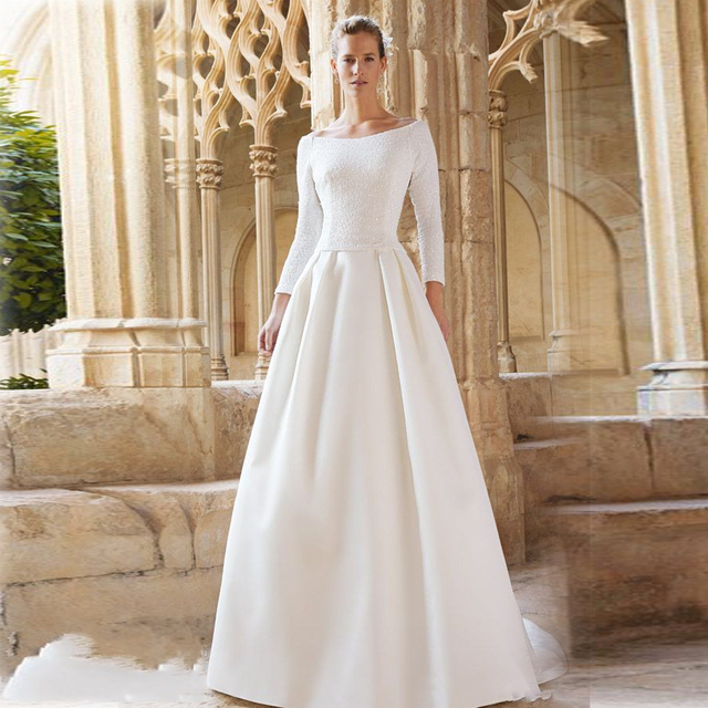 Simple And Elegant Evening Dresses Boat Neck Three Quarter Sleeve A Line Floor Length Sequin White
