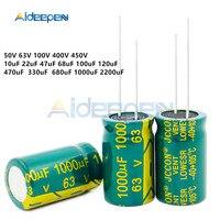 50 v 63 v 100 v 400 v 450 v baixo capacitor de alumínio 10 uf 22 uf 47 uf 68 uf 100 uf 120 uf 470 uf 330 uf 680 uf 1000 uf 2200 uf uf uf uf Peças de ferramentas     -