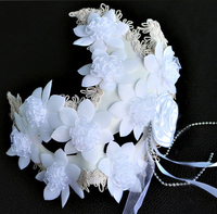 021321 Men And Women High Grade Venetian Masquerade Mask Mask With Feathers And White Bud Silk