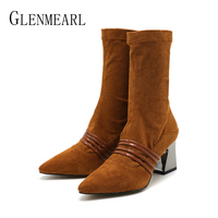 Women Boots Winter Shoes High Heels Flock Leather Mid Calf Boots Pointed Toe Casual Shoes Woman Thick Heel Brown Female Shoes DE