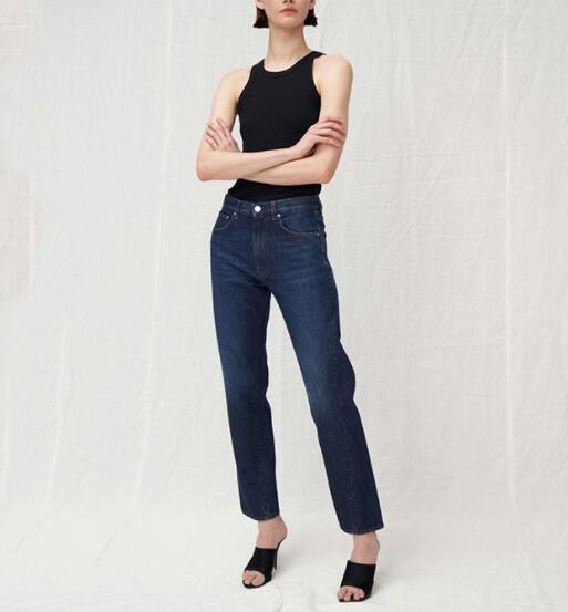 ORIGINAL azul oscuro Jeans pierna con costura torcida Pantalones Mujer-in Pantalones vaqueros from Ropa de mujer    1