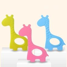 Silicone Giraffe Teether Toy BPA Free Silicone Teether Beads Baby Teething Pendant For Baby Teething Necklace(China)