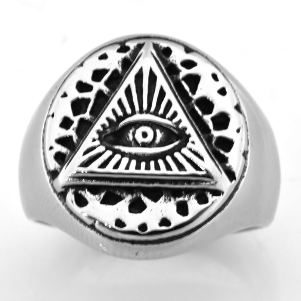 FANSSTEEL Stainless steel jewelry  triangle all seeing eye god's miracle ring FSR20W34