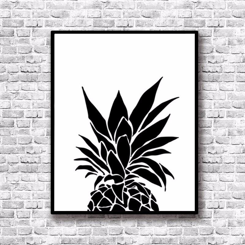 Modern minimalis nordic hitam putih nanas harga art print poster dinding gambar kanvas lukisan living room decor di painting calligraphy dari rumah