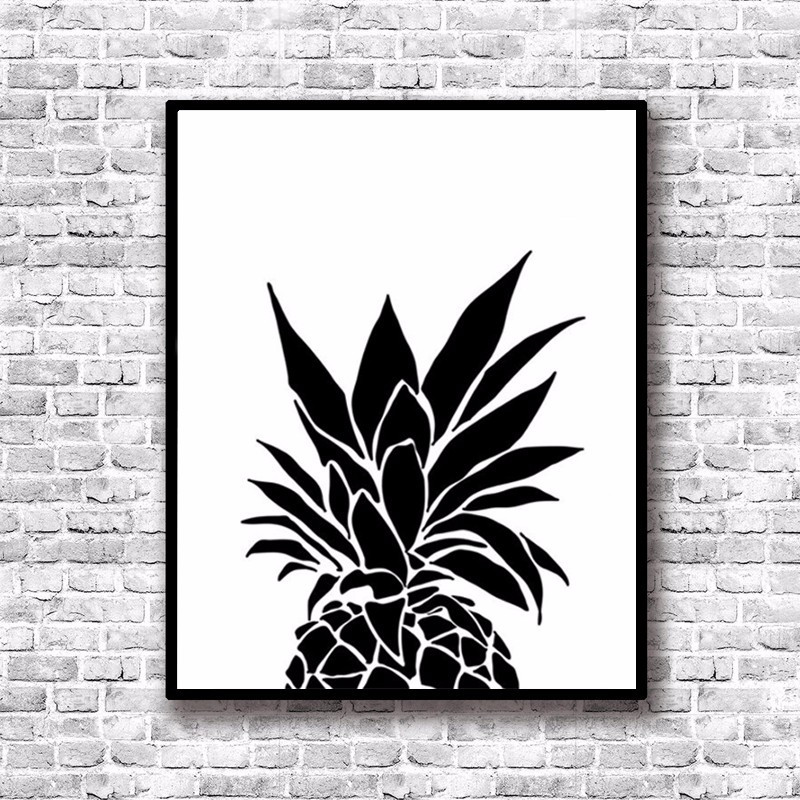Modern nordic black white minimalist pineapple quotes art print poster wall picture canvas painting living room decor in painting calligraphy from home