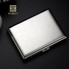 KC1-01 quality male metal cigarette case stainless steel portable cigarette storage box bin for 18 normal cigarettes kuboy kc1 18 black brone 110g vintage style leather male 20 cigarettes case box smoking accessaries smoke box case