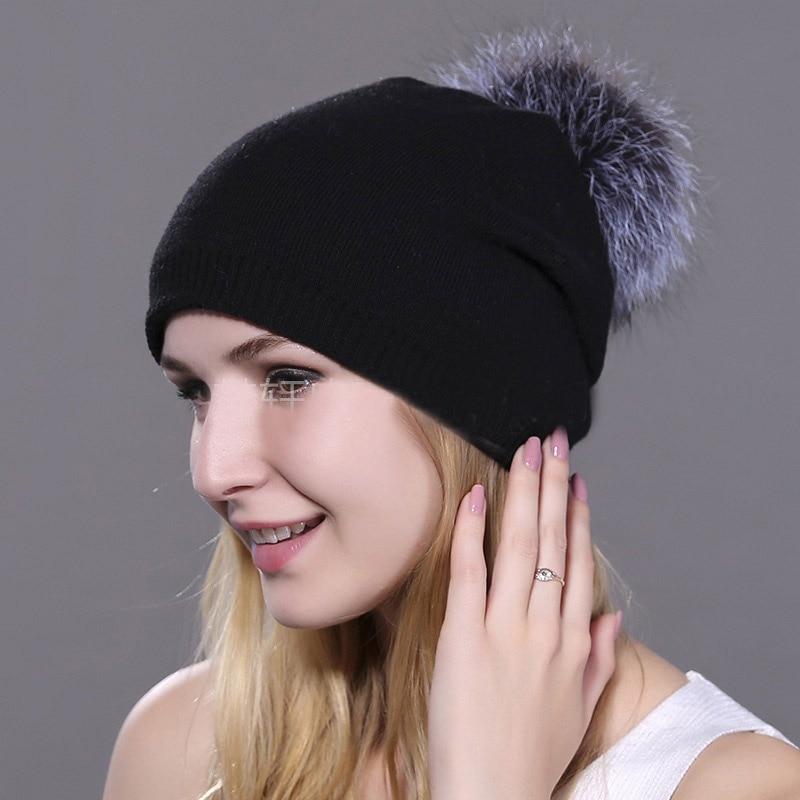 HEE GRAND/женская шапка, зимние вязаные шапки унисекс из шерсти енота, шапки с перьями для мужчин, меховая шапка куполообразная, Прямая поставка PMT089 - Цвет: Color-5