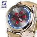 Наруто Xingyunshi Аниме LED Сенсорный Экран Хен 3ATM Водонепроницаемый Кожаный Часы Мужчины и Женщины Светящиеся Цифровые Наручные Часы