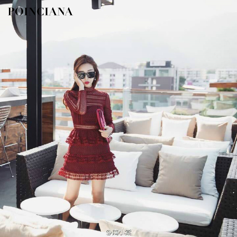 summer fall new wine red dress with lace hollow out ruffles long sleeve dresses clothes for. Black Bedroom Furniture Sets. Home Design Ideas