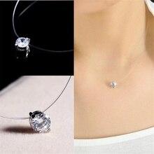 Silver color Dazzling Zircon Pendants Necklace Transparent Invisible Fishing Line Clavicle Chain Pendant Necklace JewelryYDJK235
