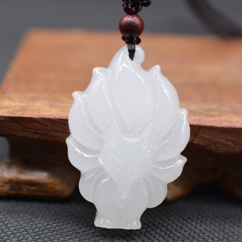 XinJiang White Jade Fox Pendant Necklace Drop Shipping Jade Stone Nine-tailed Fox Lucky Amulet Necklace With Chain For Men Women
