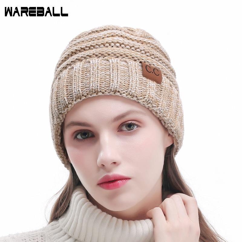 1ed89d776e2 WAREBALL Fashion Women Casual Beanies Skullies Warm Stripes Knitted Gorros  Bonnet Femme Autumn Winter Hats Caps For Girl Women