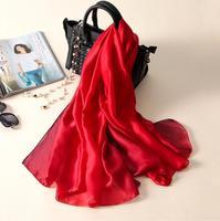 180x90 Stałe Prawdziwy Jedwab Lato dziewczyna Modal Szalik Gradient Dip dye Kobiety Muslim Hidżab Szal Długi Miękka Wrap czerwony