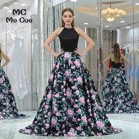 Elegant 2017 New Prom dresses with Print Pattern Off Shoulder long graduation dresses Black Evening Prom Dress Custom Made