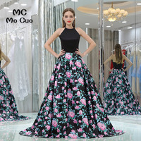 Elegant 2017 New Prom Dresses With Print Pattern Off Shoulder Long Graduation Dresses Black Evening Prom
