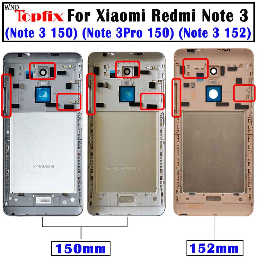 Xiaomi Redmi Note 3 150mm/152mm Battery Cover Redmi Note 3 Pro Back Battery Cover Door Housing Case Global/Special Edition