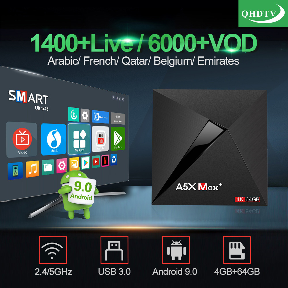 IPTV France Arabic A5X MAX With QHDTV 1 Year IPTV Code French Belgium Morocco Netherlands IP TV 4K 4GB 64GB BT4.1 Android9.0 BoxIPTV France Arabic A5X MAX With QHDTV 1 Year IPTV Code French Belgium Morocco Netherlands IP TV 4K 4GB 64GB BT4.1 Android9.0 Box