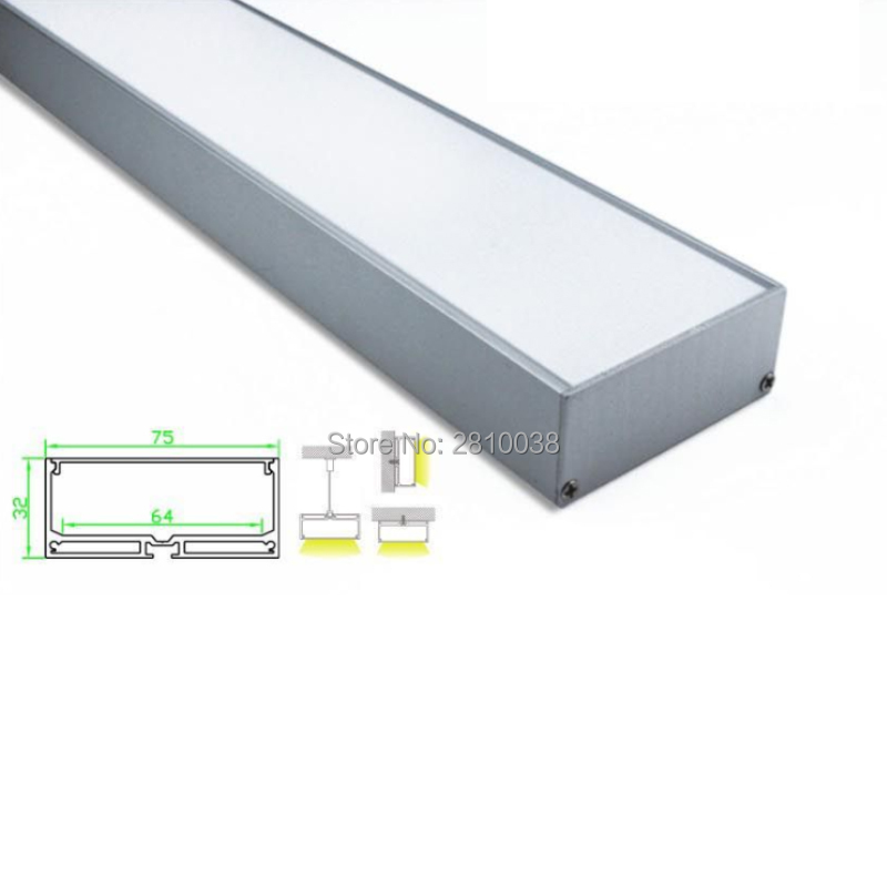 10 Sets/Lot U type Anodized silver LED aluminum profile Extruded Aluminium led profile led Channel housing for suspending lamps