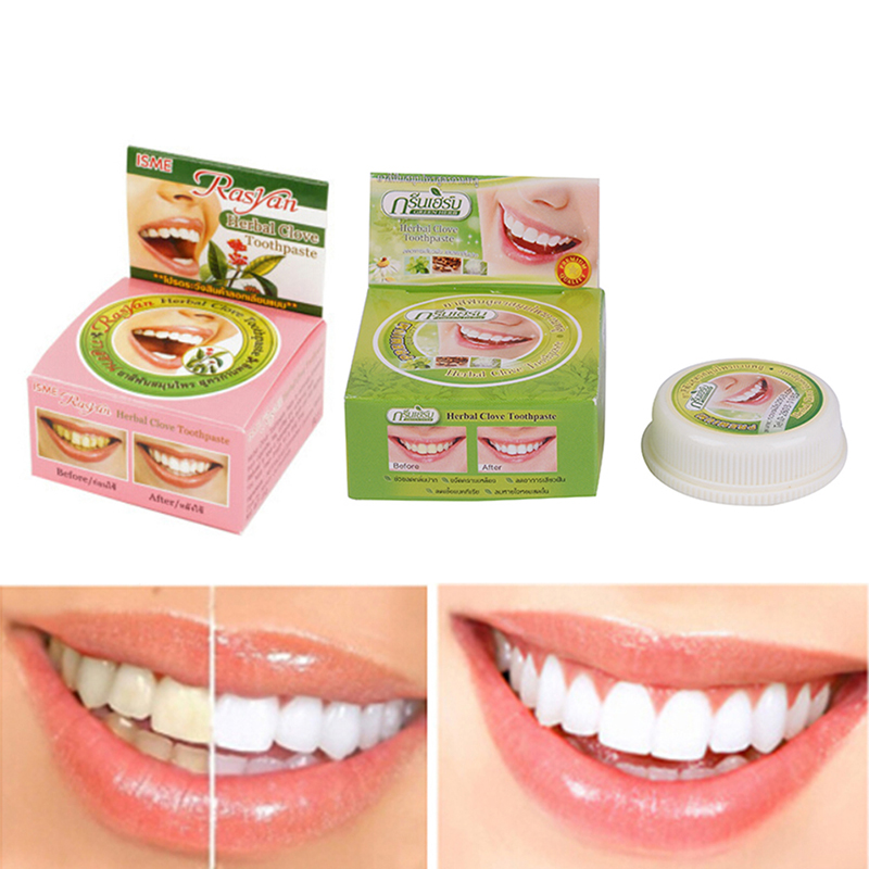 1Pc Color toothpaste Tooth Whitening Toothpaste Remove Stain Antibacterial Allergic Natural Herbal Clove <font><b>Thailand</b></font> Toothpaste image