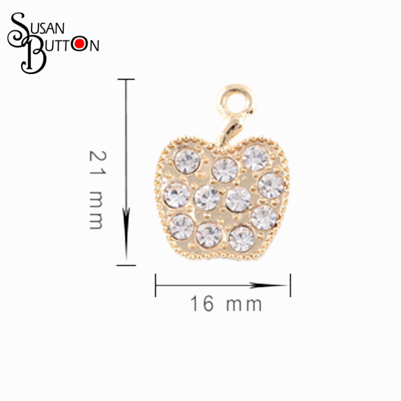 20pcs/lotNew Arrival Gold/Silver Plate Crystal Fruit Apple Charms Pendants for Making Diy Jewelry Findings Accessories SJDC3064