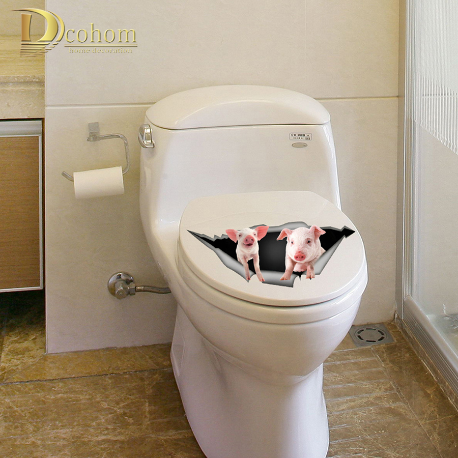 New Vivid View Dog Pig 3d Wall Stickers Cute Animals Toilet Sticker Kids Room Decoration Poster Vinyl Kitchen Refrigerator Deca Mega Deal 1111