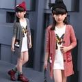 2016 осень детская одежда детские длинный рукав длинный стиль тонкий девушки кардиган свитера для девочек дети вязаный свитер верхняя одежда