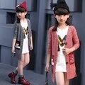 2016 niños del otoño ropa de bebé de manga larga estilo delgado niñas cardigan suéteres para niñas niños suéter de punto prendas de vestir exteriores
