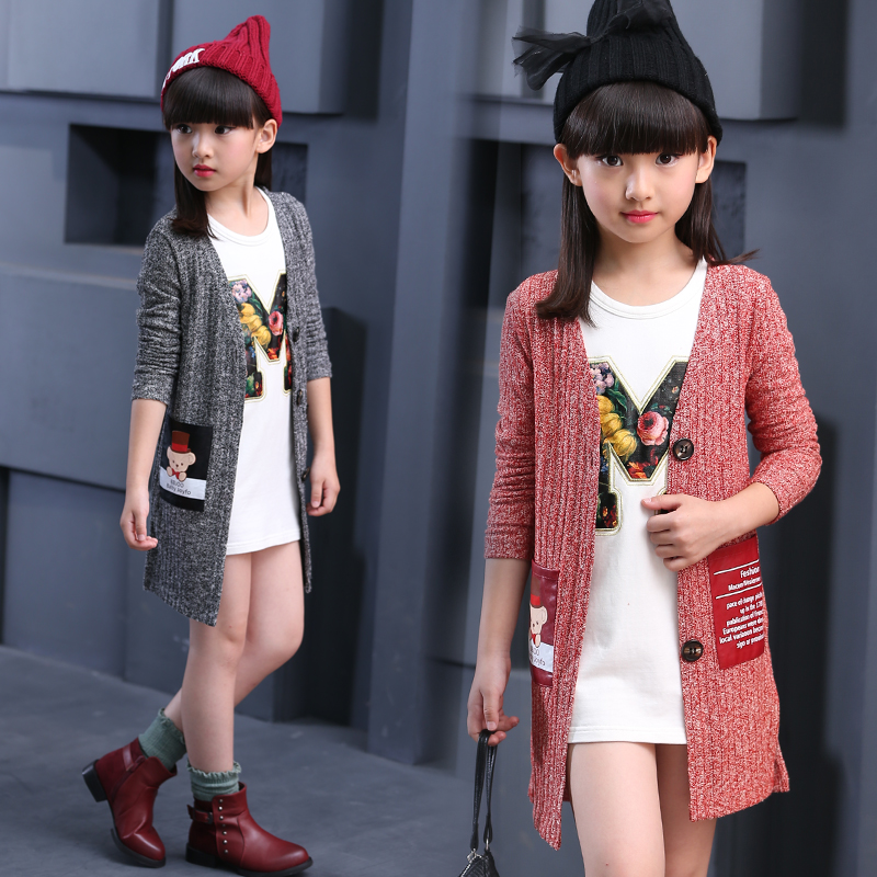 79045f7d883 2018 autumn children s clothes baby long sleeve long style thin girls cardigan  sweaters for girls kids knitted sweater outerwear