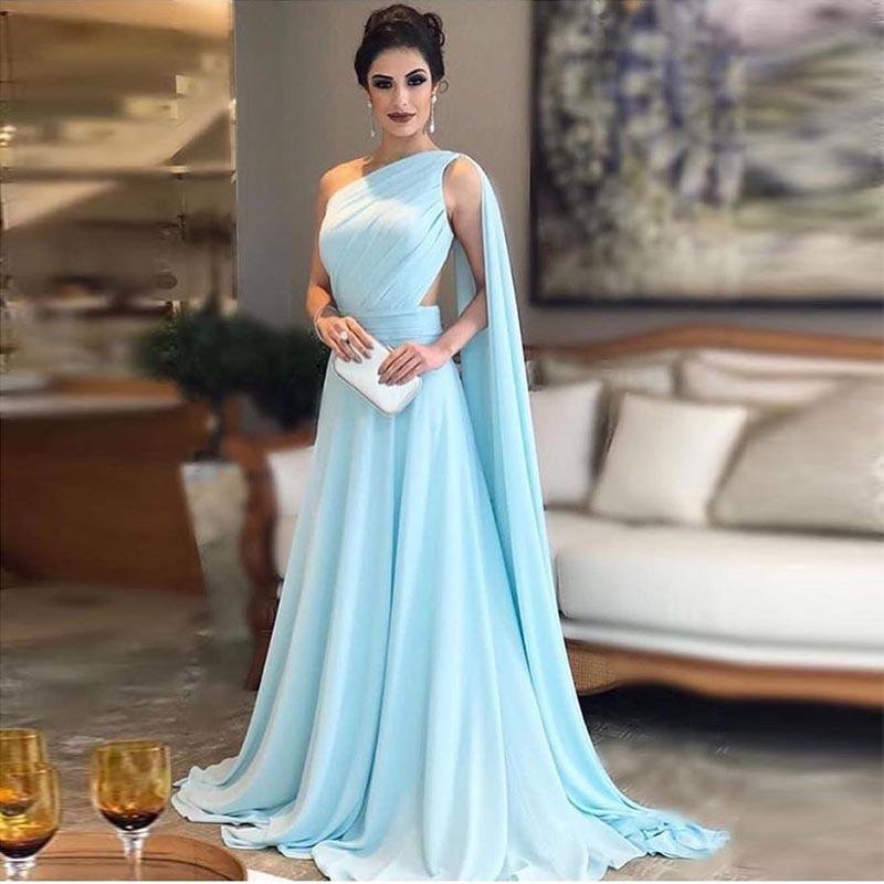 Elegant One Shoulder Evening Dress Sleeveless Pleats Chiffon Long Prom Dress Illusion Back Women Formal Party Gowns Sweep Train
