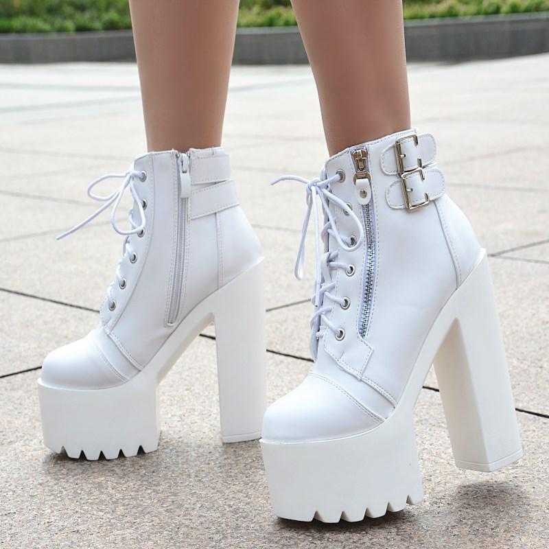 Et l'amérique sexy talons hauts discothèque bar performance blanc chaussures pour femmes 15 cm super haut talon imperméable plate-forme ghb78