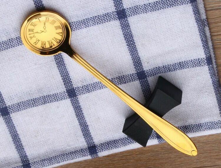 304 кофейная ложка из нержавеющей стали, помешивающая чайная ложка, милая мультяшная кошка, hello kitty, совок, Дораэмон, часы, время, Rilakkuma, ложка с медведем - Цвет: golden Clock dail