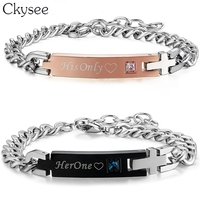 80bda06f6961 Ckysee 2018 His Only Her One Stainless Steel Couple Bracelet For Women Men  Red Blue Crystal. Ckysee 2018 su única pulsera de pareja acero ...