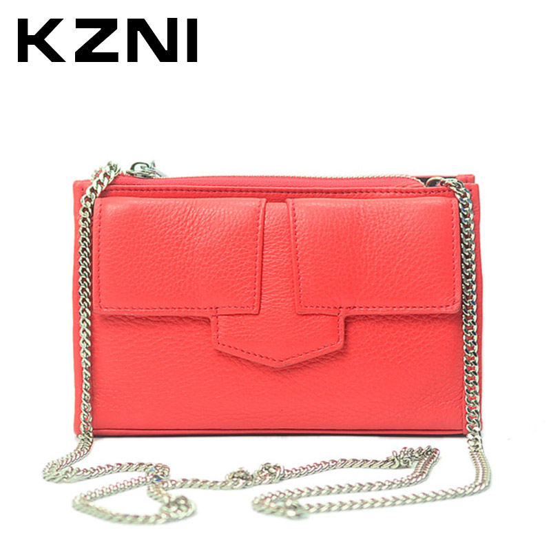 KZNI Ladies Handbag Genuine Leather Cowhide Clutch Woman Bag 2017 Designer Chain Bag Lady 2017 Handbag for Women Sac Femme 2147 книги издательство аст запости