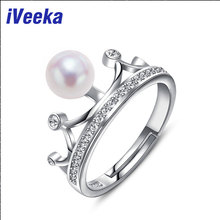 iVeeka 7~8mm Excellent Spherical Pearls Rings 925 Serling Silver Glowing Crown Wedding ceremony Ring 100% Pure White Pearl 2016 New Design