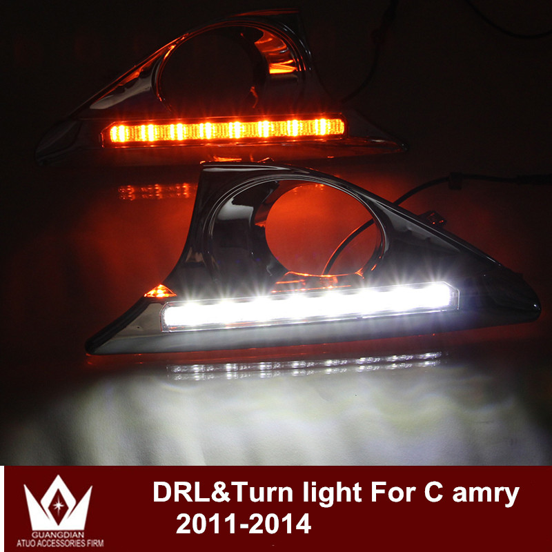 Night lord For Toyota Camry HEV 2011-2014 CAR LED DRL Daytime running light with yellow turn signal function  Free shipping night lord for toyota reiz grx130 7440 t20 wy21w car led drl