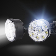 2Pcs Universal 9 LED Round white Light Daytime Running Car Lamps Waterproof DRL Fog Lights Lamp 12V 6500K Super Bright