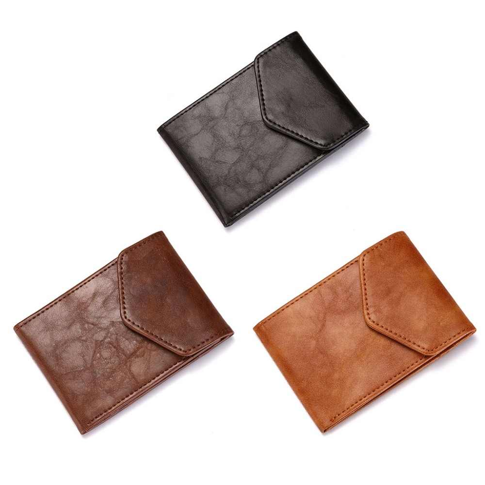 RFID Blocking Leather ID Credit Card Holder Business Pocket Case Slim Purse Wallet for Men Women 11x1x7.8cm