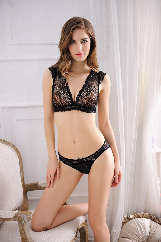 Women Sexy Lingerie Set Lace Bra Panties Open V Nest -7490