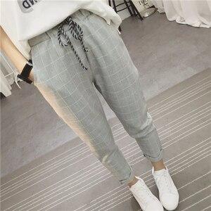 Image 3 - Calça feminina folgada, calça harém xadrez casual de linho algodão quadril primavera calças literárias sarouel femme 2020