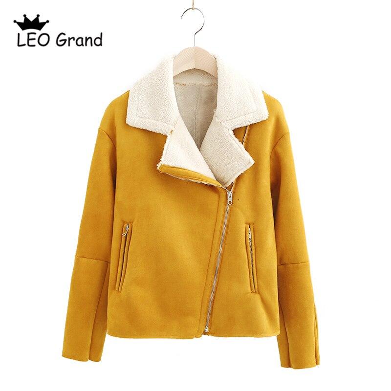 ליאו גרנד חורף מעיל נשים צהוב Lambswool נשי סתיו מעיל להאריך ימים יותר Casaco feminina אופנוע זמש 910047