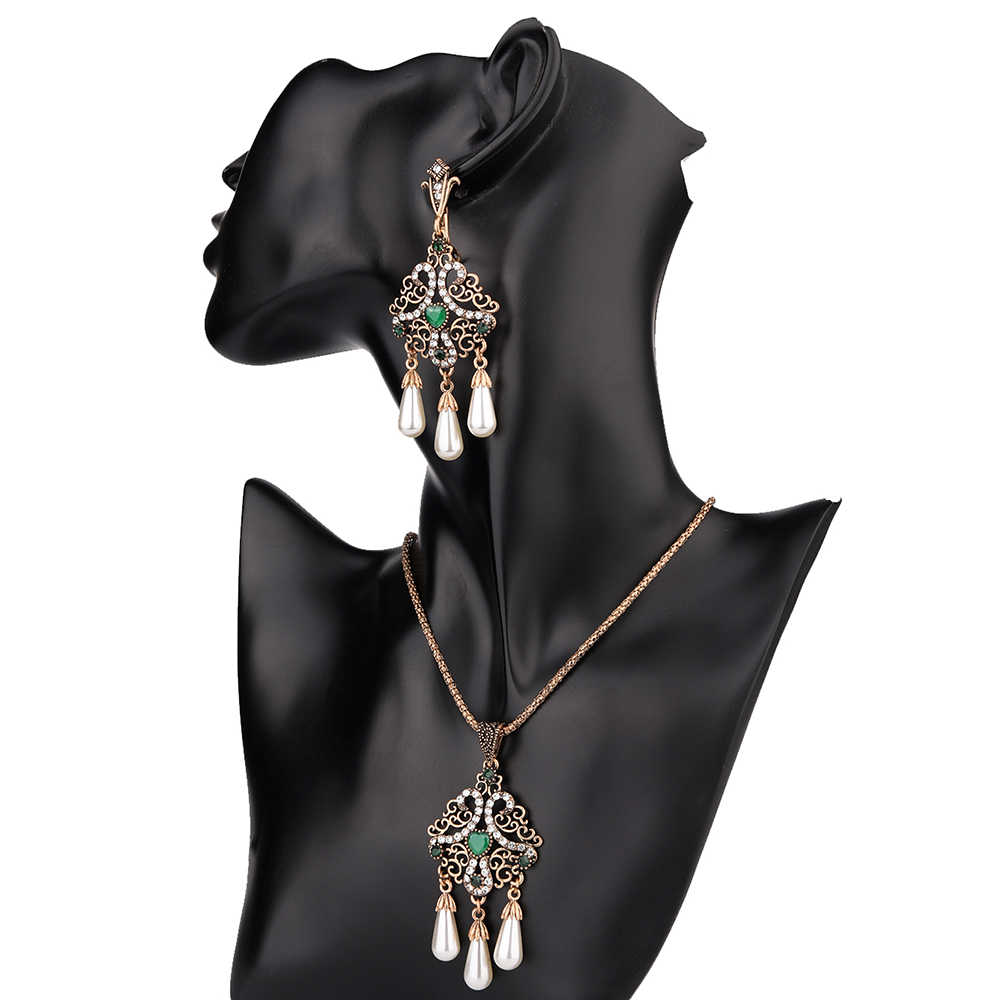 Vintage African Long Ladies Earrings and Necklace Sets Big Costume Jewelry Tassel Imitation Pearl Women Gold Choker Set Bijoux